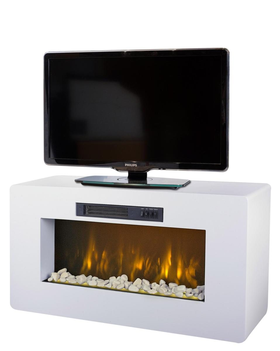 chiminea electrica decorativa función mueble televisión